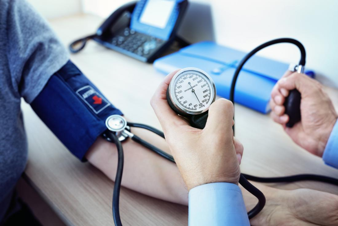 γιατρός μετράει την πίεση του ασθενή του για να δει εάν έχει υπέρταση