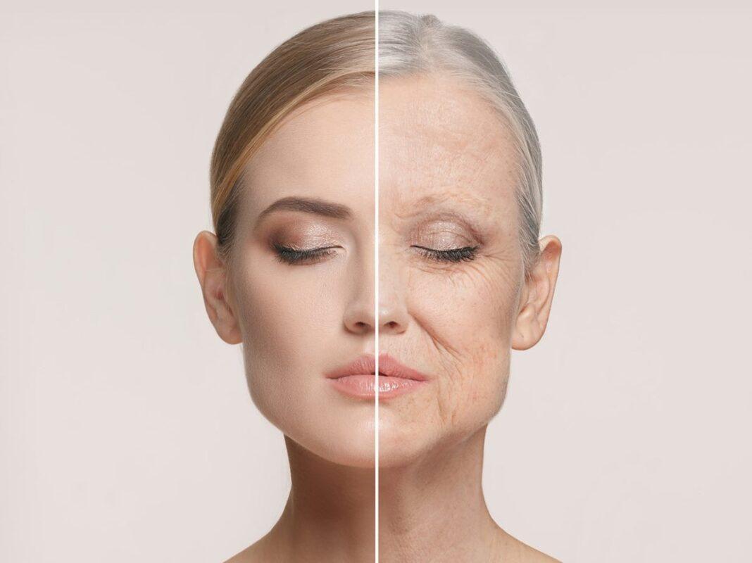 μια διπλή φωτογραφία που δείχνει την γήρανση μιας γυναίκας